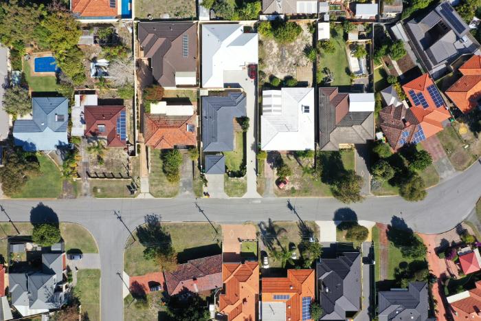 Adelaide neighbourhood roof tops aerial